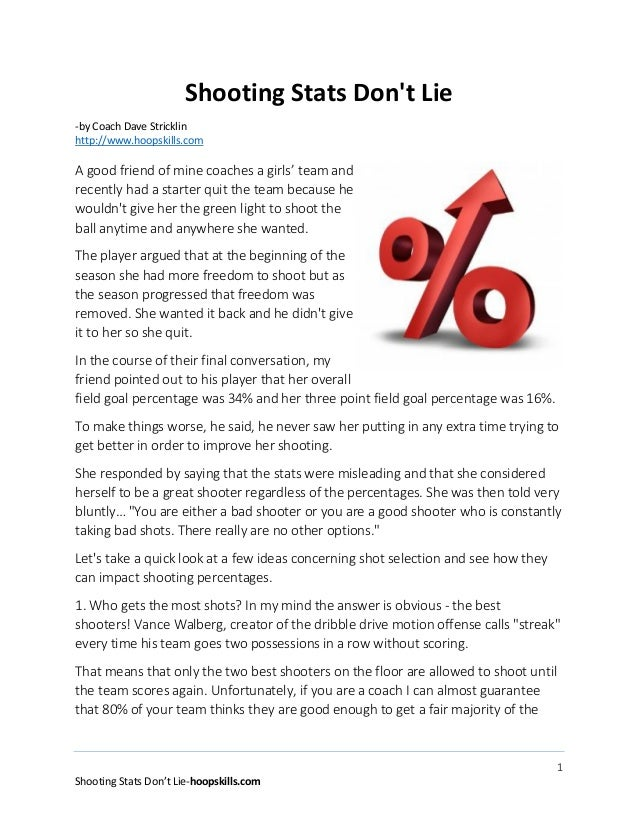 Shooting Stats Don't Lie -by Coach Dave Stricklin http://www.hoopskills.com  A good friend of mine coaches a girls' team a...