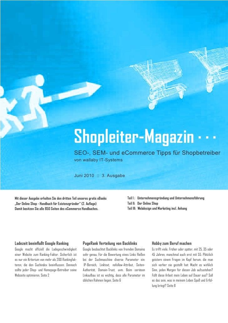 Shopleiter Magazin Nr. 3 - SEO-, SEM- und eCommerce-Tipps
