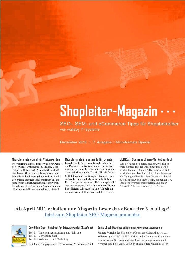 Shopleiter SEO Magazin Nr. 7 - Microformats Special