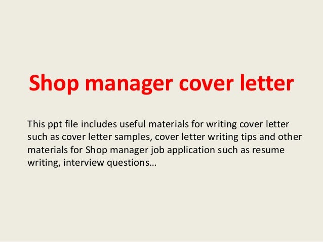 Cover letter for body shop manager