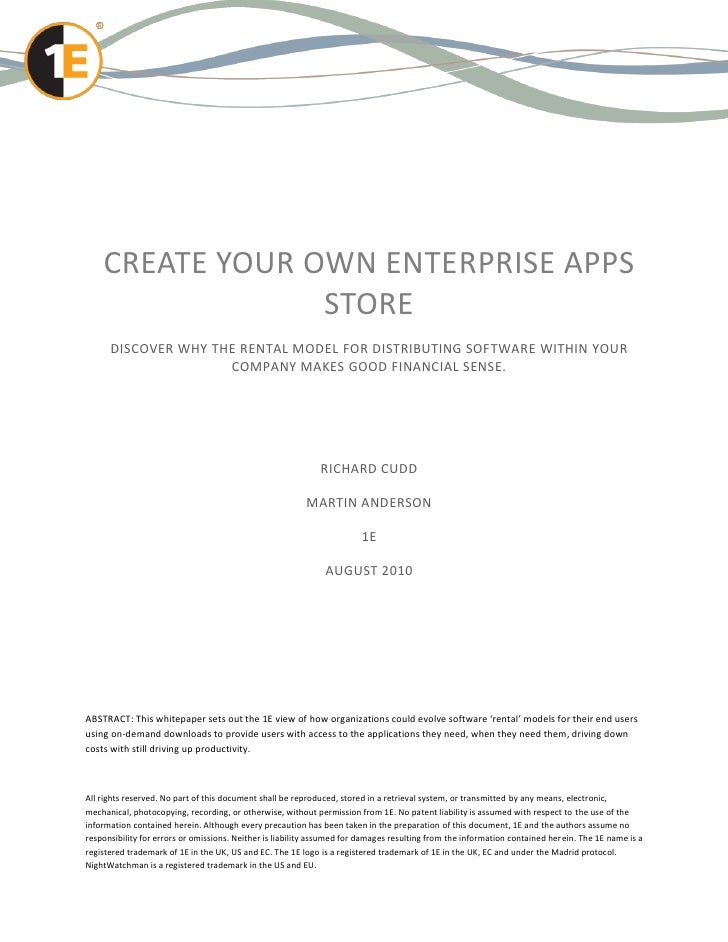 CREATE YOUR OWN ENTERPRISE APPS                 STORE      DISCOVER WHY THE RENTAL MODEL FOR DISTRIBUTING SOFTWARE WITHIN ...