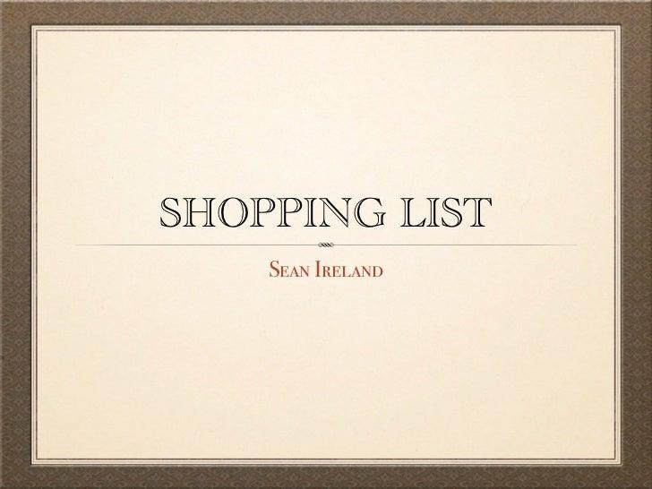Shopping list keynote