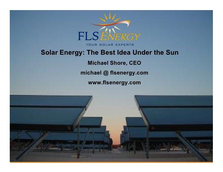 Commercial/Residential Solar - Michael Shore