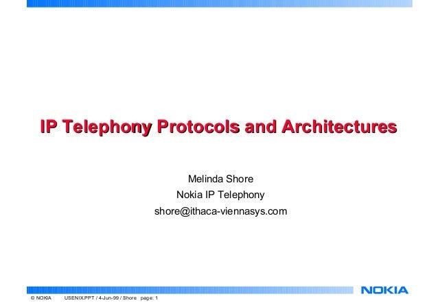 IP Telephony Protocols and Architectures                                                    Melinda Shore                 ...