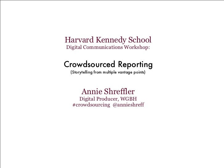 Crowdsource Reporting
