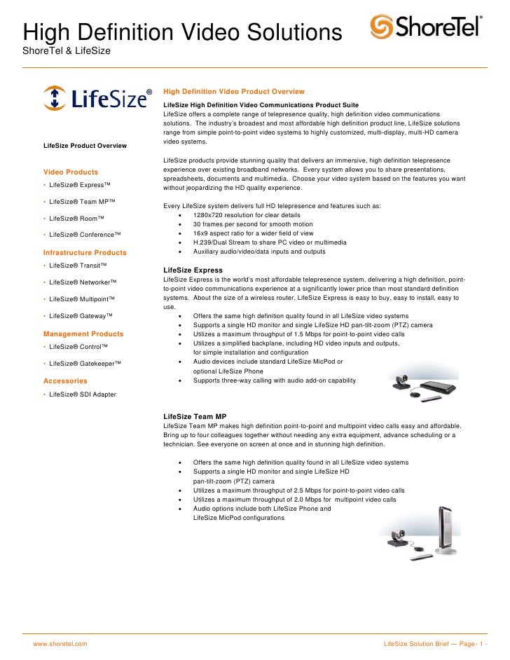 High Definition Video Solutions ShoreTel & LifeSize                                    High Definition Video Product Overv...