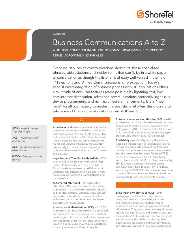 Shoretel Unified Communications Glossary