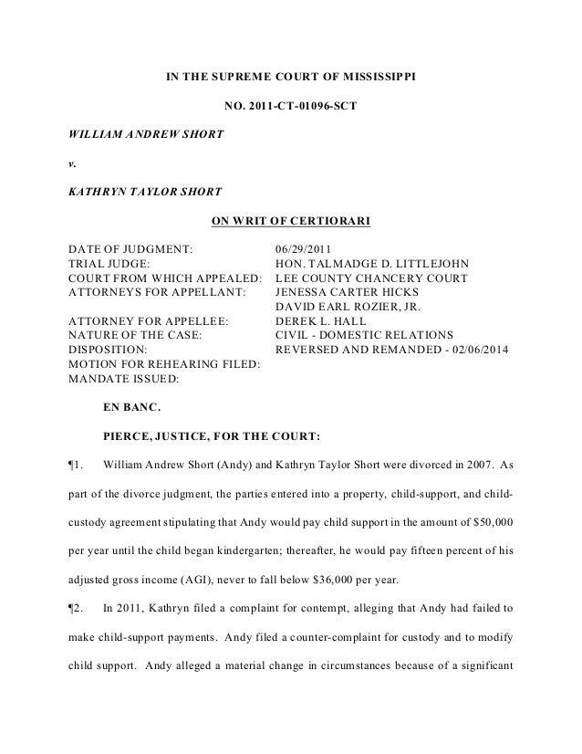 Short v. Short Case - Mississippi Supreme Court
