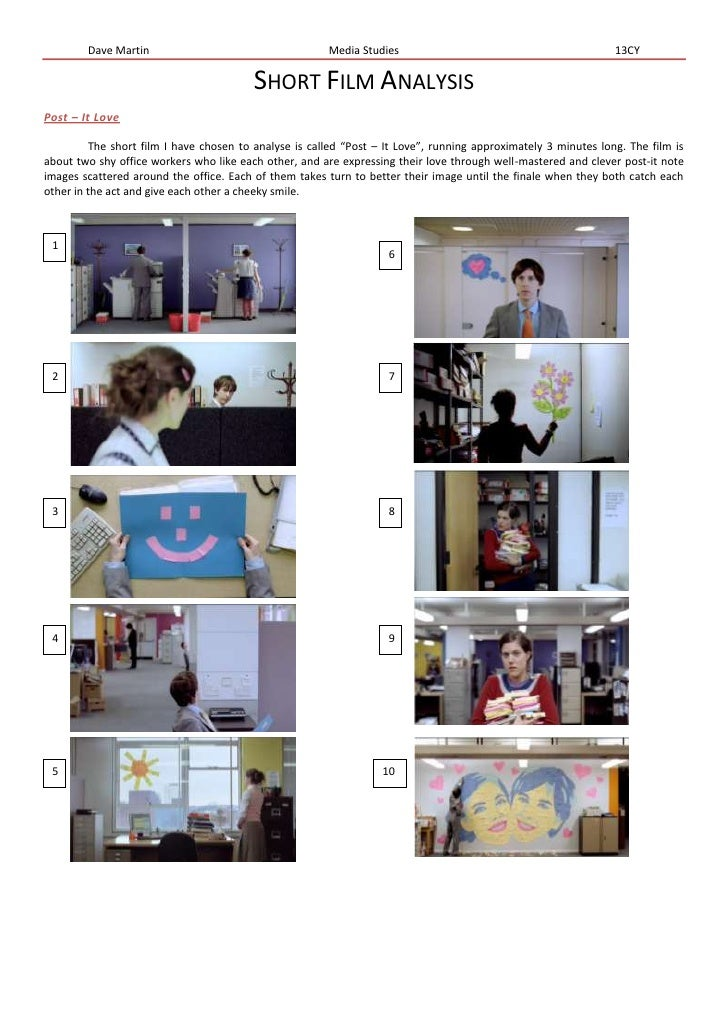 """Short Film Analysis<br />Post – It Love<br />The short film I have chosen to analyse is called """"Post – It Love"""", running a..."""