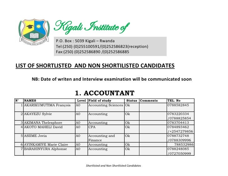 Shortlisted candidates for May job advertisement
