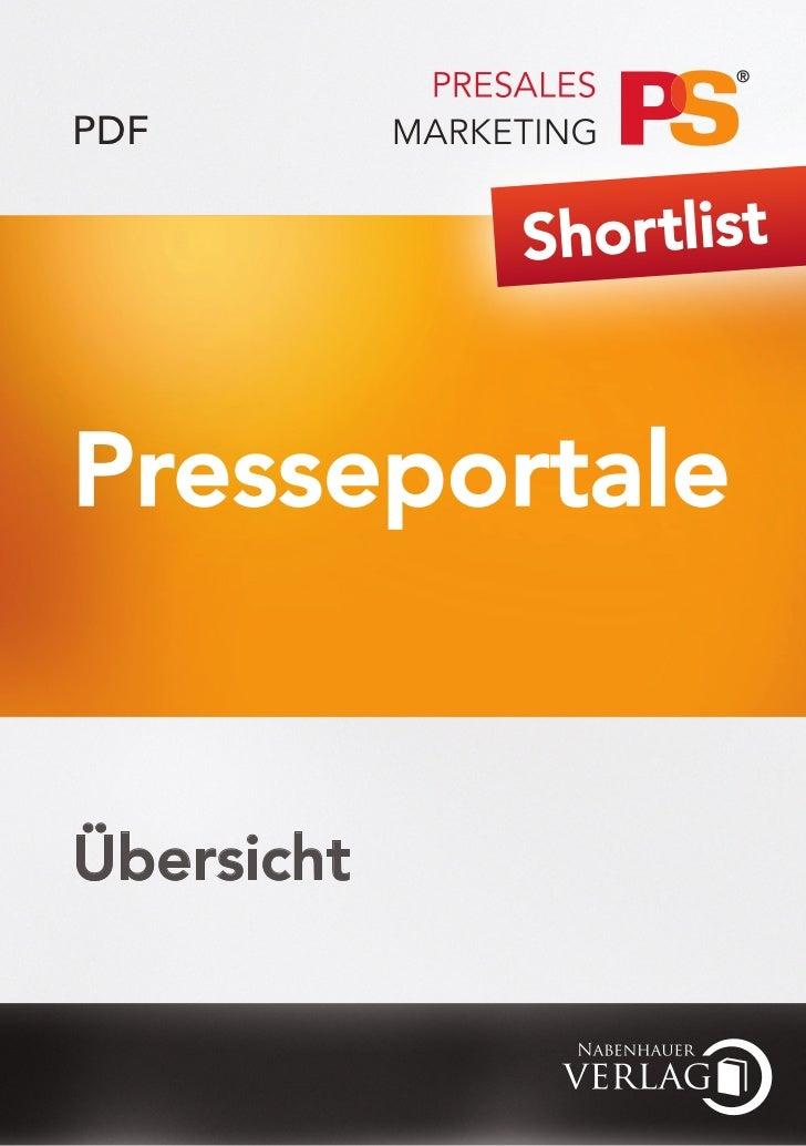 PDF            Shor tlistPresseportaleÜbersicht