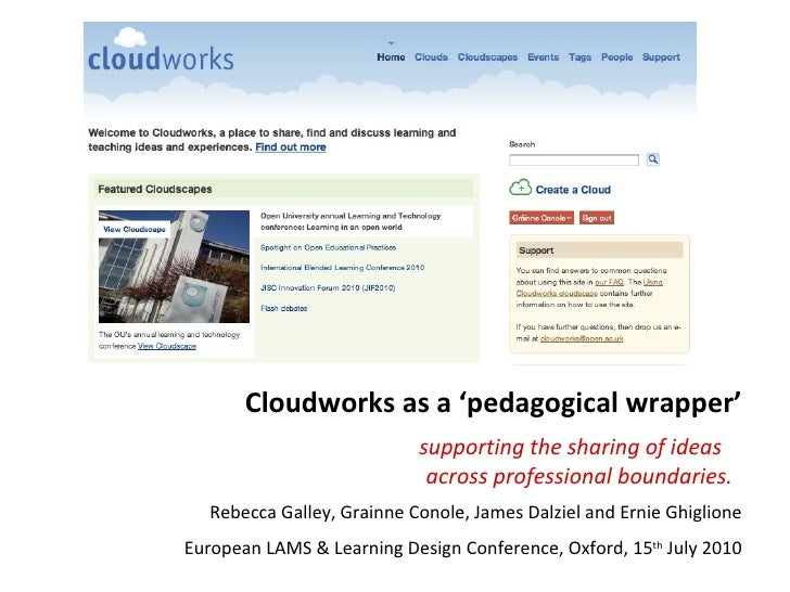 Cloudworks as a 'pedagogical wrapper' supporting the sharing of ideas  across professional boundaries. Rebecca Galley, Gra...