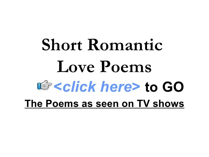 Short sweet love poems