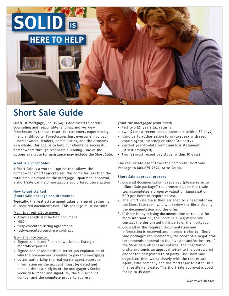 SOLID                             IS           HERE TO HELP     Short Sale Guide SunTrust Mortgage, Inc. (STM) is dedicate...