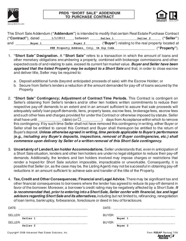 Short sale addendum to purchase contract (rssap)