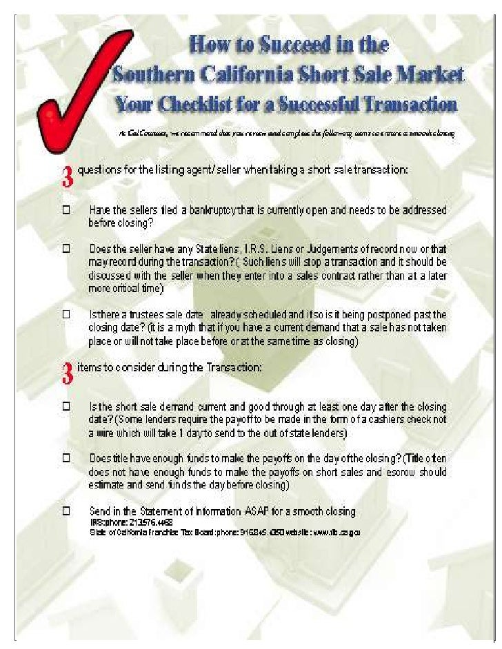 Short sale success checklist