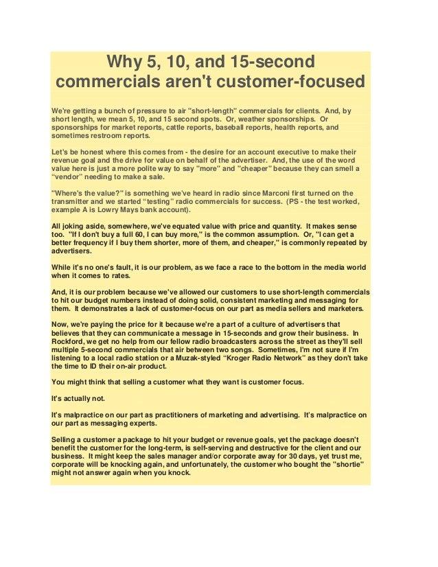 Short spots lack customer focus