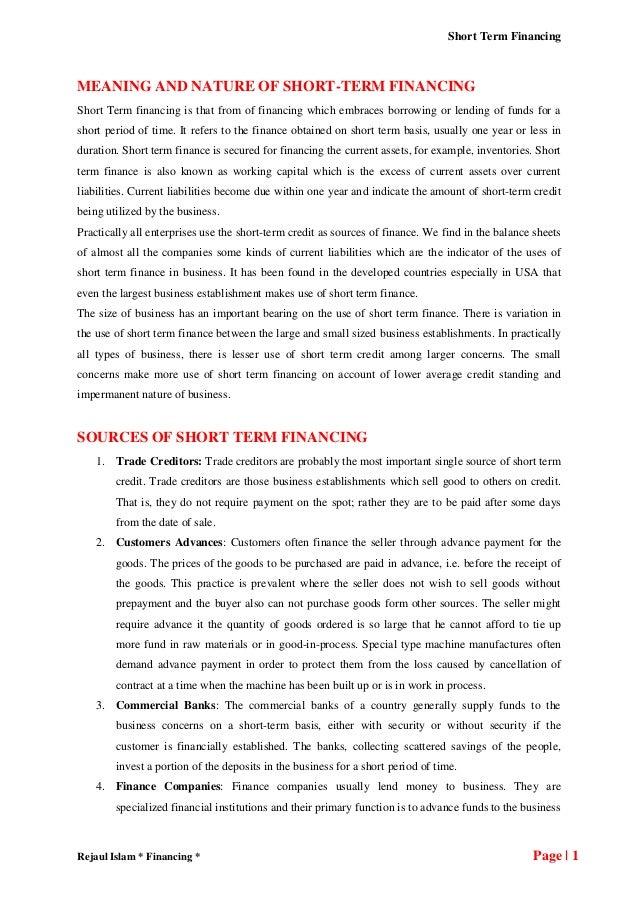 Short term financing notes