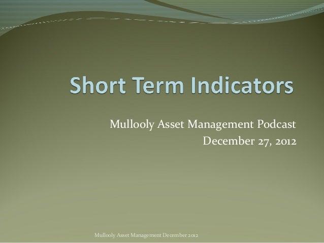 Mullooly Asset Management Podcast                      December 27, 2012Mullooly Asset Management December 2012