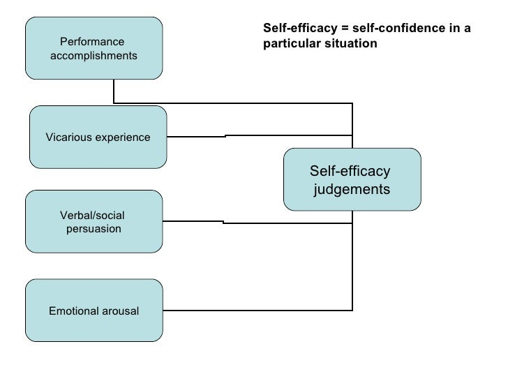 Self-efficacy = self-confidence in a  Performance          particular situationaccomplishmentsVicarious experience        ...
