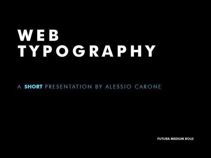 Web Typography (short talk)