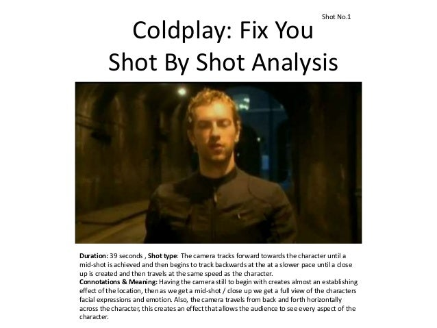 Coldplay: Fix You Shot By Shot Analysis Duration: 39 seconds , Shot type: The camera tracks forward towards the character ...