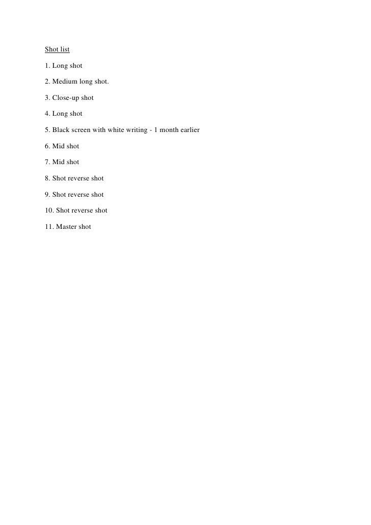 Shot list <br />1. Long shot <br />2. Medium long shot.<br />3. Close-up shot <br />4. Long shot <br />5. Black screen wit...