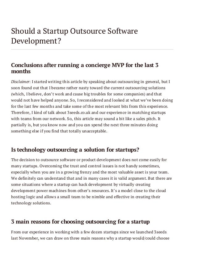 Should a Startup Outsource Software Development? Conclusions after running a concierge MVP for the last 3 months Disclaime...