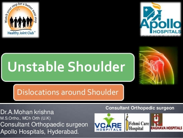 Unstable Shoulder Dislocations around Shoulder Dr.A.Mohan krishna M.S.Ortho., MCh Orth (U.K) Consultant Orthopaedic surgeo...