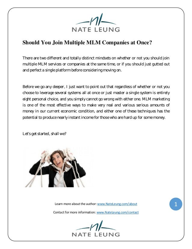 Should you join multiple mlm companies at once