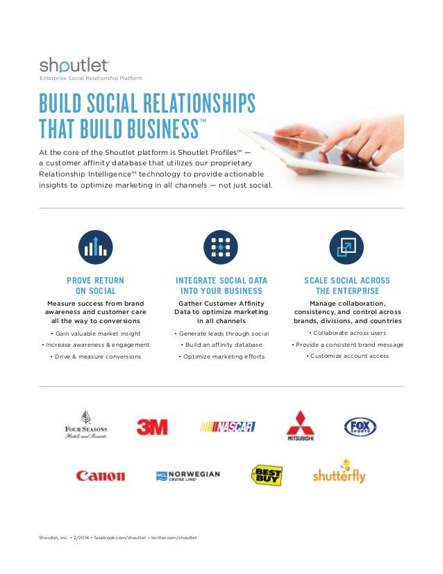 BUILD SOCIAL RELATIONSHIPS THAT BUILD BUSINESS™ At the core of the Shoutlet platform is Shoutlet Profiles™ — a customer af...