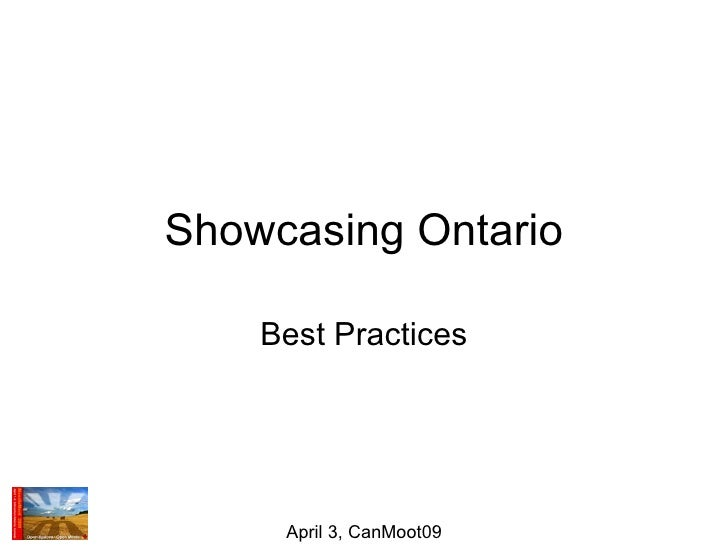 Showcasing Ontario Best Practices