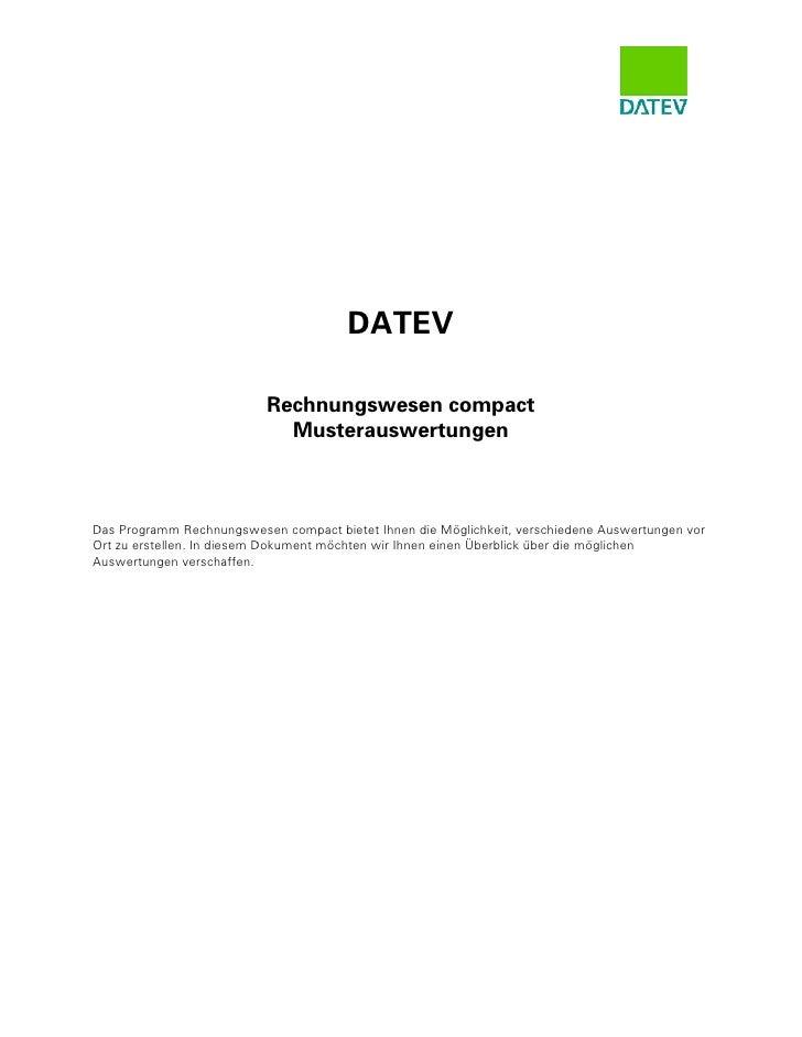 DATEV                             Rechnungswesen compact                              Musterauswertungen    Das Programm R...
