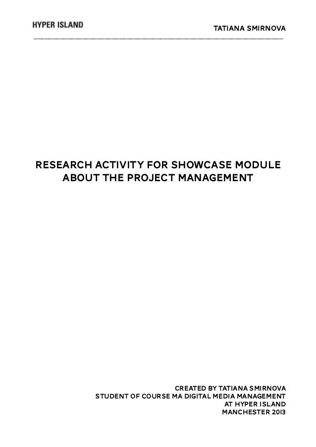 Tatiana Smirnova ___________________________________________________________________  Research activity for Showcase modul...