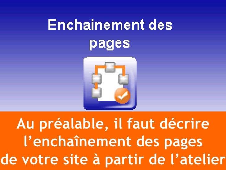 Au préalable, il faut décrire    l'enchaînement des pages de votre site à partir de l'atelier