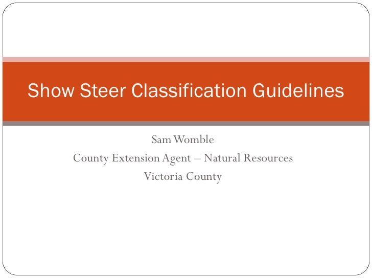 Show steer classification guidelines