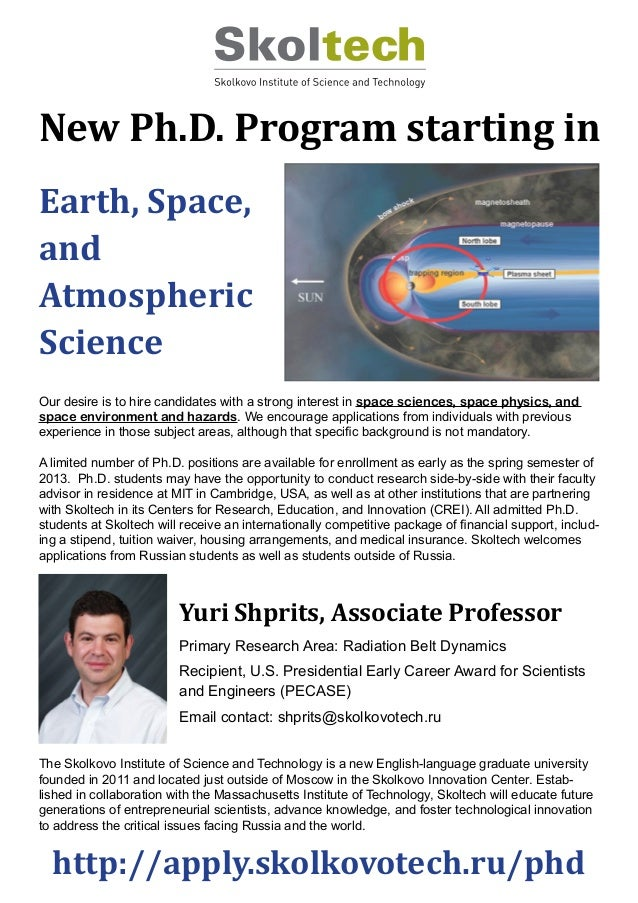 Looking for PhD Students in the field of space physics, space sciences and space environments and hazards