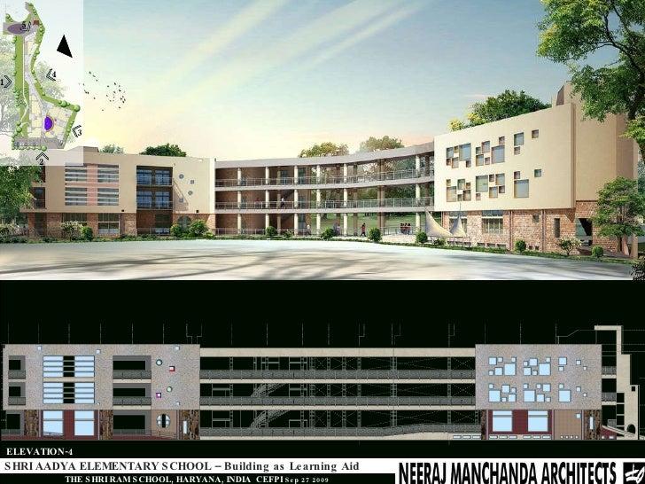 Primary School Plan Elevation : Shri aadya elementary school building as learning aid