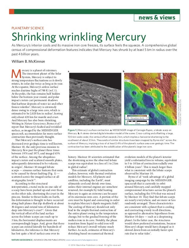 Shrinking wrinkling mercury