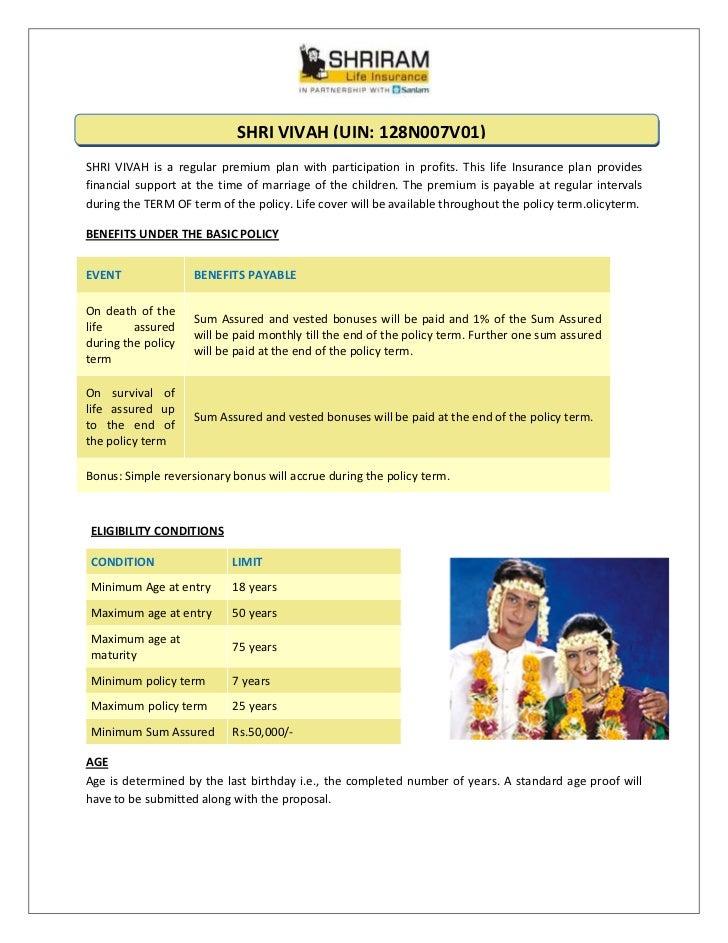 SHRIVIVAH(UIN:128N007V01)SHRI VIVAH is a regular premium plan with participat...