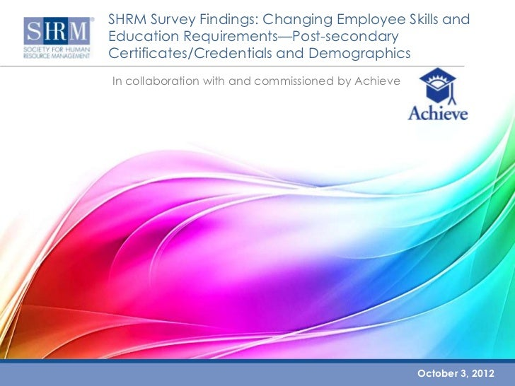 SHRM Survey Findings: Changing Employee Skills andEducation Requirements—Post-secondaryCertificates/Credentials and Demogr...