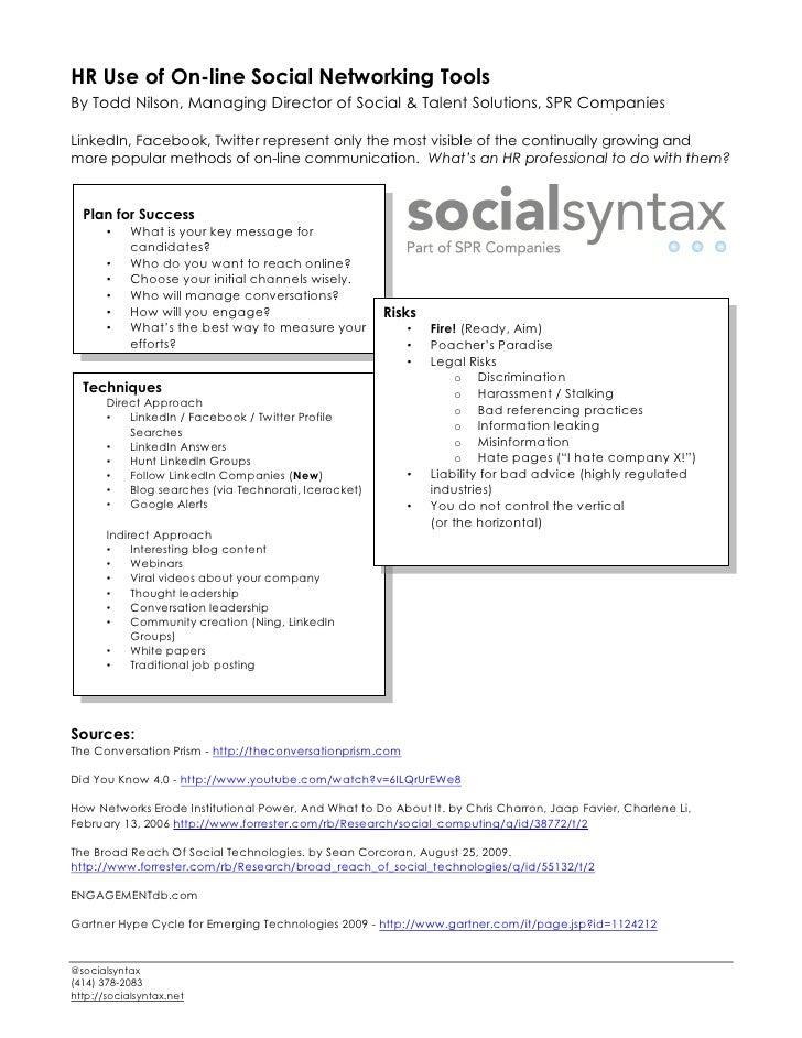HR Use of On-line Social Networking Tools By Todd Nilson, Managing Director of Social & Talent Solutions, SPR Companies  L...