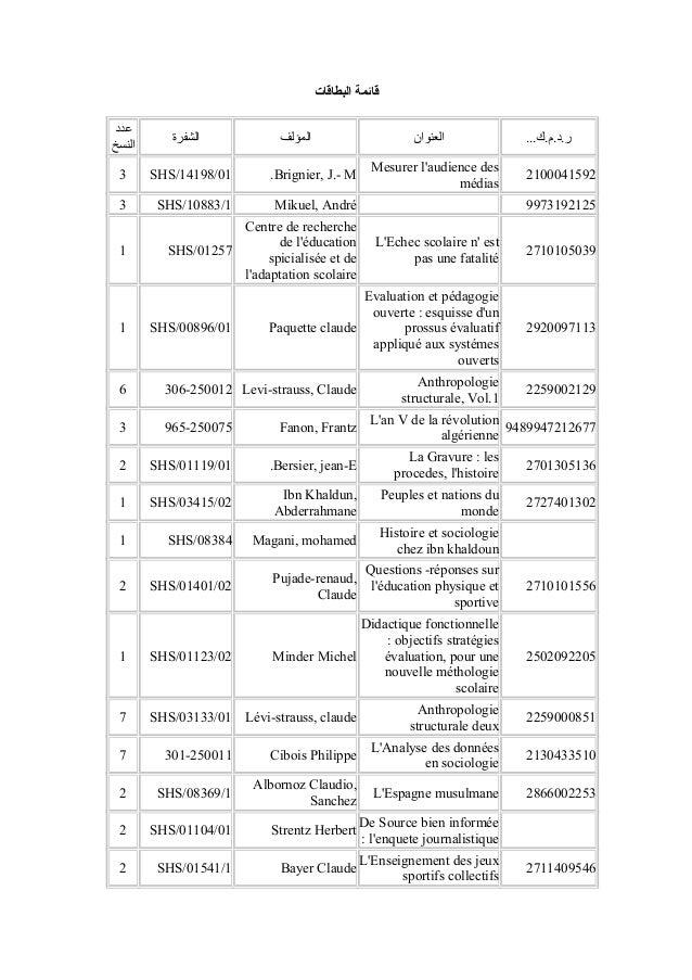 البطاقات قائمة ...ر.د.م.كالعنوانالمؤلفالشفرة عدد النسخ 2100041592 Mesurer l'audience des médias Brignier, ...
