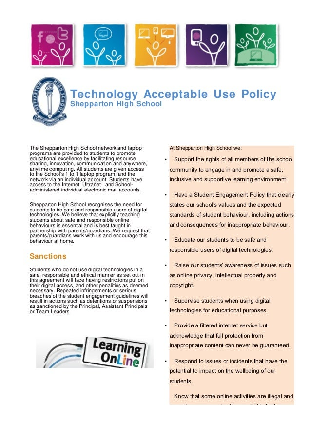 Technology Acceptable Use Policy                 Shepparton High SchoolThe Shepparton High School network and laptop      ...