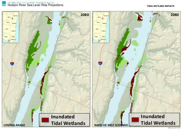 Hudson River Sea Level Rise Projections TIDAL WETLAND IMPACTS CENTRAL RANGE RAPID ICE MELT SCENARIO 2080 2080 Inundated Ti...