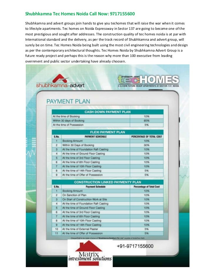Shubhkamna Advert TecHomes 9717155600 Tec Homes Noida, Techomes Sector 137 Noida
