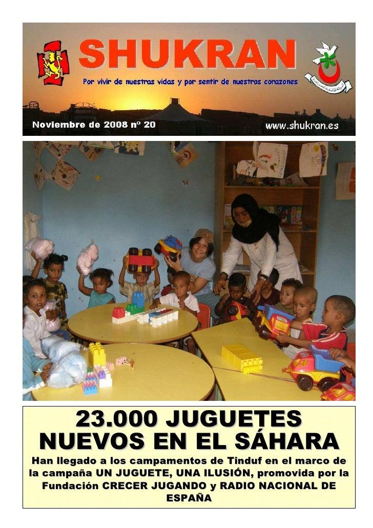 23.000 JUGUETES  NUEVOS EN EL SÁHARA  Han llegado a los campamentos de Tinduf en el marco de la campaña UN JUGUETE, UNA IL...