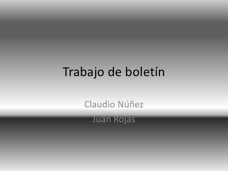 Trabajo de boletín<br />Claudio Núñez<br />Juan Rojas<br />