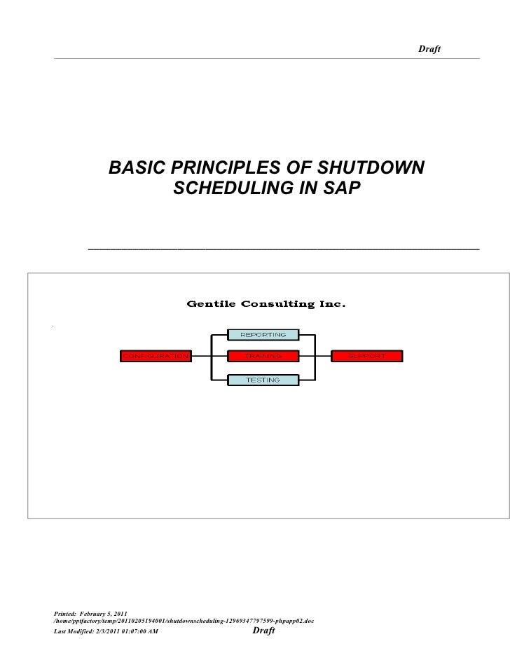Draft                  BASIC PRINCIPLES OF SHUTDOWN                        SCHEDULING IN SAP           ___________________...