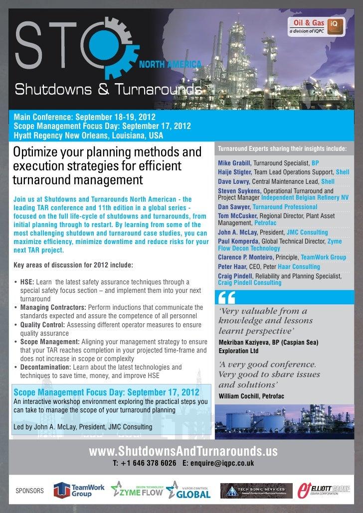 NORTH AMERICAMain Conference: September 18-19, 2012Scope Management Focus Day: September 17, 2012Hyatt Regency New Orleans...